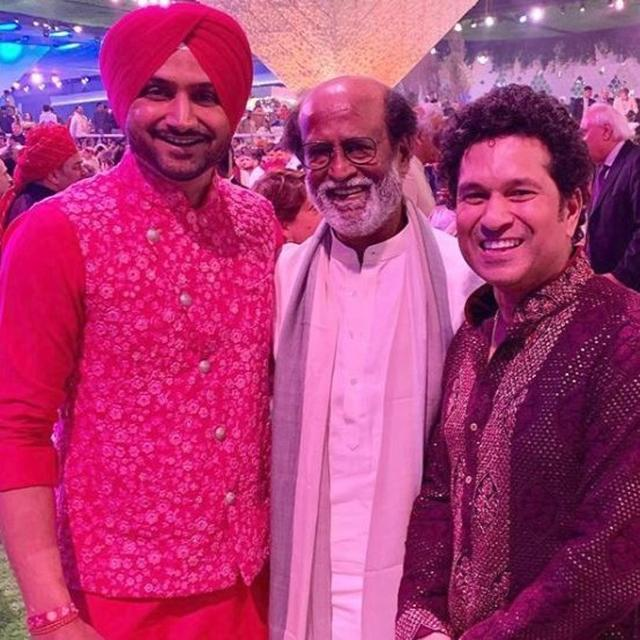 TURBANATOR, ROBOT, GODZILLA: HERE'S HOW NETIZENS REACTED TO HARBHAJAN SINGH, RAJINIKANTH AND SACHIN TENDULKAR POSING TOGETHER AT THE AKASH AMBANI-SHLOKA MEHTA WEDDING