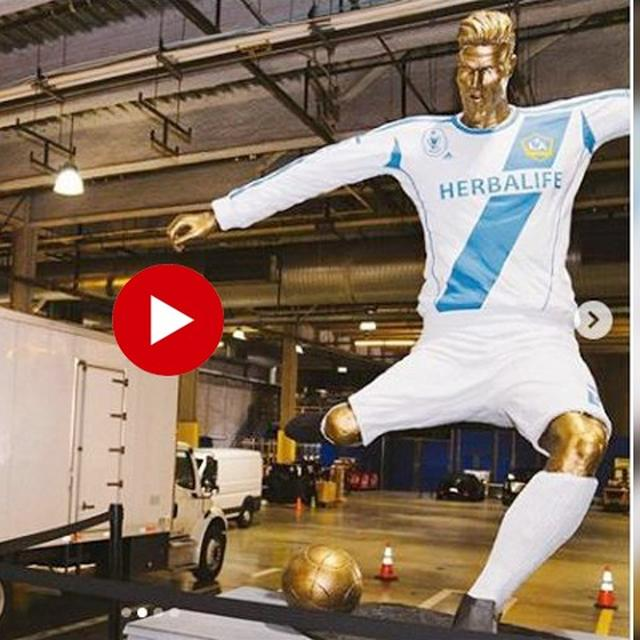 VIRAL: DAVID BECKHAM'S 'HORRIFIED LOOK' AFTER JAMES CORDEN PRANKS HIM WITH AN 'UGLY STATUE'