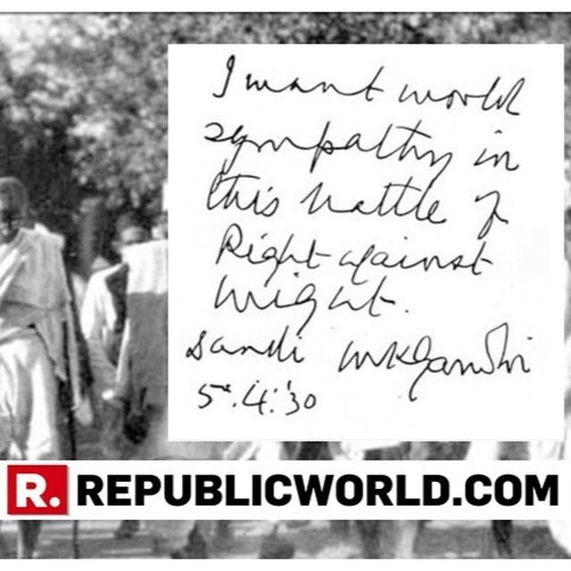 READ | HERE'S THE 89-YEAR-OLD HANDWRITTEN NOTE BY MAHATMA GANDHI IN WHICH HE APPEALED TO THE WORLD DURING INDIA'S FREEDOM MOVEMENT