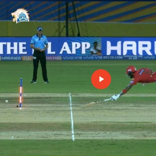 VIRAL: MS DHONI HITS THE STUMPS BUT BAILS REFUSE TO COME OFF AS KINGS XI'S KL RAHUL MANAGES A LUCKY SINGLE