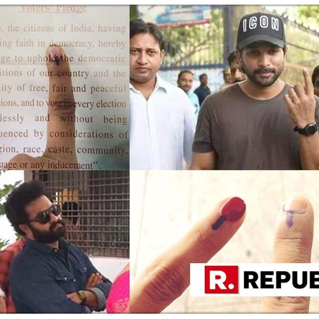 WATCH | Ram Charan-Chiranjeevi, Jr NTR, Allu Arjun cast their votes in Hyderabad, proudly share inked finger on social media urging citizens to vote