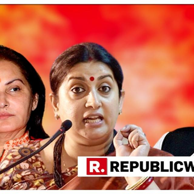 SMRITI IRANI LASHES OUT AT SAMAJWADI PARTY OVER AZAM KHAN'S LEWD REMARK ON JAYA PRADA