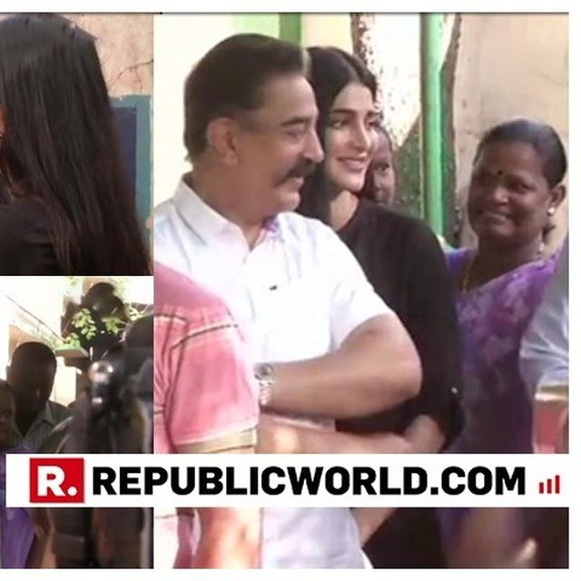 MAKKAL NEEDHI MAIAM CHIEF KAMAL HAASAN AND DAUGHTER SHRUTI HAASAN QUEUE UP OUTSIDE POLLING STATION AS PHASE 2 OF GENERAL ELECTIONS BEGIN