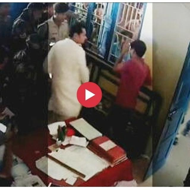 WATCH: TRIPURA CONGRESS CHIEF TAKES LAW IN HIS HAND, SLAPS IPFT WORKER INSIDE POLICE STATION FOR ATTACKING HIS SISTER'S CONVOY
