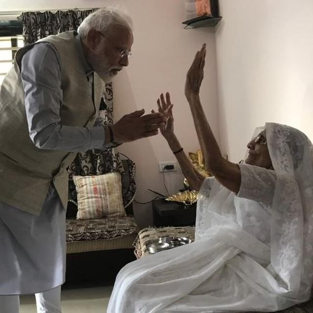 HERE'S WHAT PM MODI'S MOTHER GIFTED HIM AS A BLESSING AS HE HEADS TO CAST HIS VOTE IN THE THIRD PHASE OF 2019 POLLS