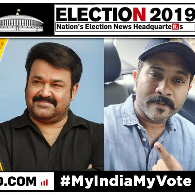 MALAYALAM SUPERSTARS MOHANLAL AND AJU VARGHESE QUEUE UP TOGETHER TO CAST THEIR VOTES AS LOK SABHA ELECTIONS ARE HELD IN KERALA