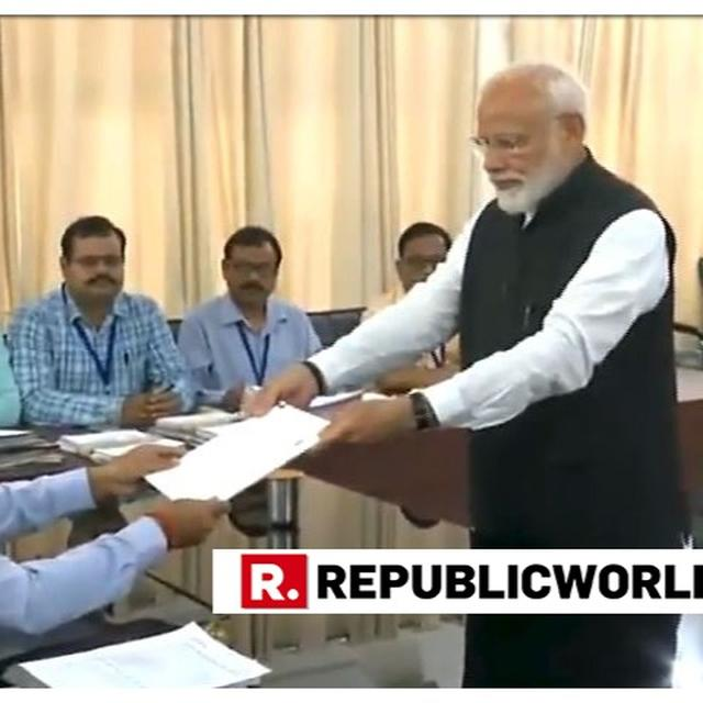 ACCOMPANIED BY TOP NDA LEADERS, PM MODI FILES NOMINATION FOR VARANASI LOK SABHA SEAT