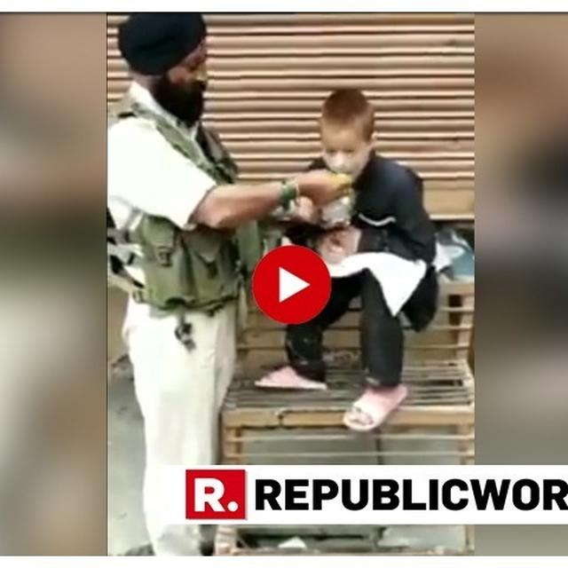 WATCH: CRPF JAWAN IQBAL SINGH WHO WAS DRIVING A VEHICLE IN THE CRPF CONVOY ON THE DAY OF PULWAMA ATTACK FEEDS A PHYSICALLY CHALLENGED BOY WITH OWN HANDS