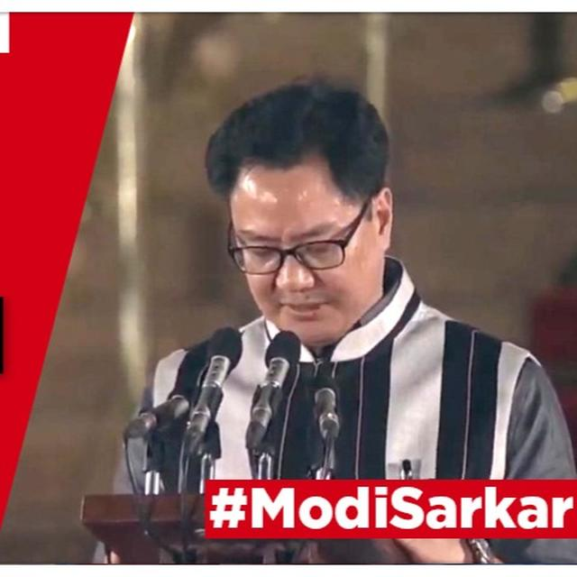 WATCH | KIREN RIJIJU TAKES OATH AS A NEWLY-INDUCTED MINISTER OF STATE (MOS INDEPENDENT CHARGE) IN THE MODI CABINET 2.0 AT THE SWEARING-IN CEREMONY AT RASHTRAPATI BHAVAN