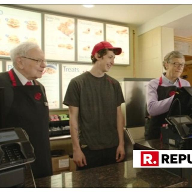 'BILLION' ICECREAM: BILL GATES AND WARREN BUFFET TAKE INTERNET BY STORM BY SERVING ICE-CREAMS IN THE AFTERNOON SHIFT AT A US ICECREAM CHAIN
