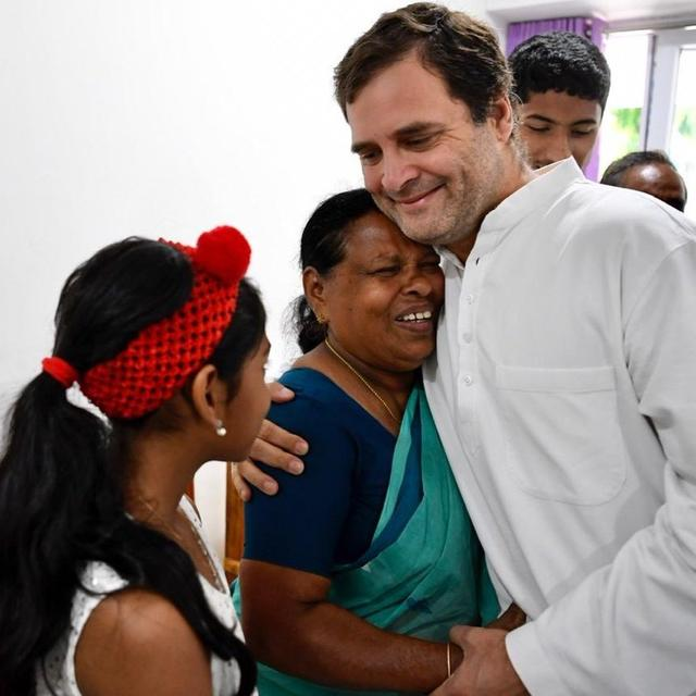 RAHUL GANDHI MEETS 72-YEAR-OLD RAJAMMA VAVATHIL, A RETIRED NURSE, WHO HELD HIM IN HER HANDS AS A BABY
