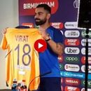 WATCH: VIRAT KOHLI HAS A HILARIOUS REACTION WHILE PRESENTING INDIA'S NEW ORANGE WORLD CUP JERSEY