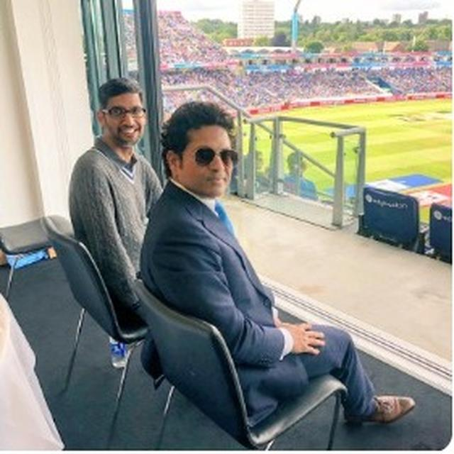 SACHIN TENDULKAR WAS CLEARLY AWARE OF THE VIRAL CURRENCY OF HIS PICTURE WITH SUNDAR PICHAI AT THE WORLD CUP, HERE'S PROOF