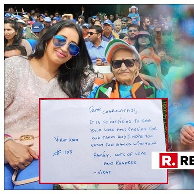 WORLD CUP | TEAM INDIA SUPERFAN CHARULATHA PATEL MAKES WAVES AT INDIA-SRI LANKA MATCH TOO, HERE'S THE NOTE VIRAT KOHLI PENNED FOR THE 87-YEAR-OLD