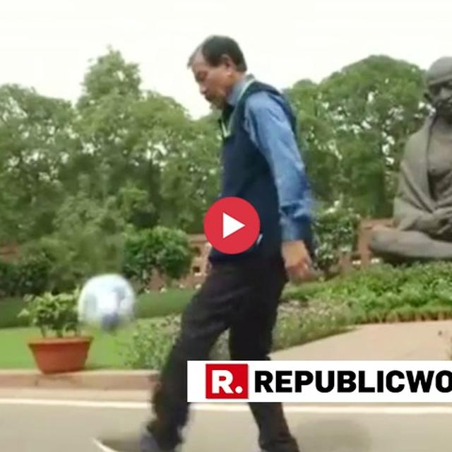 WATCH: TRINAMOOL MP PRASUN BANERJEE PLAYS FOOTBALL ON PARLIAMENT PREMISES; 'LESS POLITICS, MORE FOOTBALL,' PITCHES THE ARJUNA AWARDEE