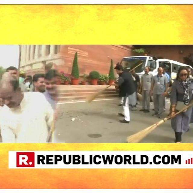 SPEAKER, UNION MINISTERS AND MPS PICK UP A BROOMS, PARTICIPATE IN CLEANLINESS DRIVE ON PARLIAMENT PREMISES