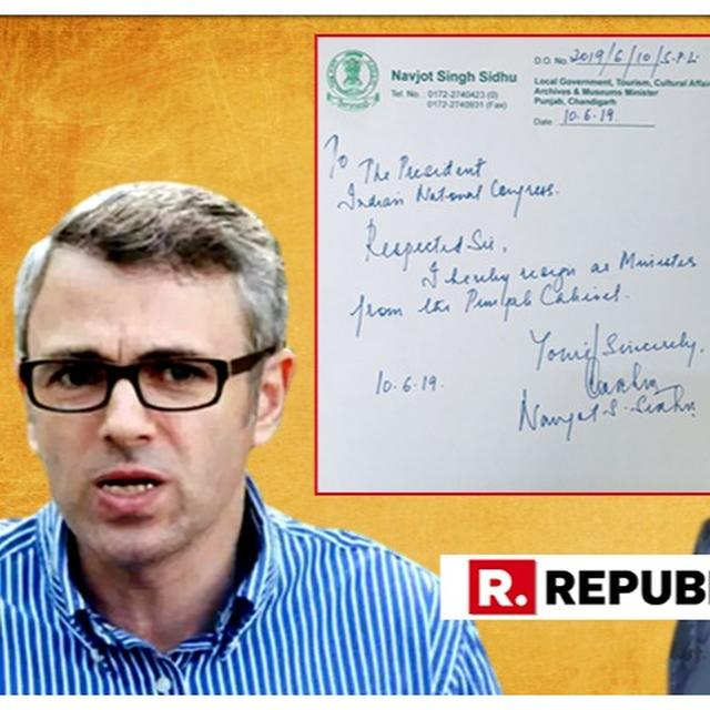'OH TO BE IN THE BJP RIGHT NOW': OMAR ABDULLAH REACTS TO NAVJOT SINGH SIDHU'S RESIGNATION AS PUNJAB MINISTER. READ HERE