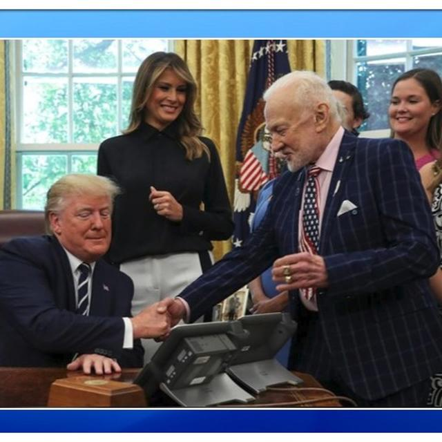 APOLLO 11 ANNIVERSARY: DONALD TRUMP GREETS ASTRONAUT BUZZ ALDRIN SEATED IN HIS CHAIR, NETIZENS CALL IT 'AN INSULT'