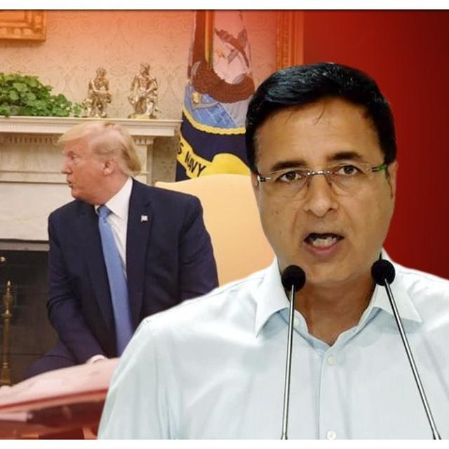 """""""LET PM ANSWER TO THE NATION,"""" SAYS CONGRESS' RANDEEP SURJEWALA JUMPING GUN ON DONALD TRUMP'S FALSE CLAIM THAT PM MODI ASKED HIM TO MEDIATE KASHMIR DISPUTE"""
