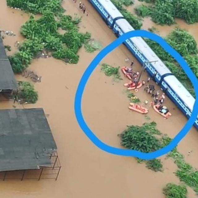 MAHALAXMI EXPRESS STRANDED IN FLOODS: VISUALS SHOW TRAIN'S PLIGHT, NDRF RESCUES HUNDREDS