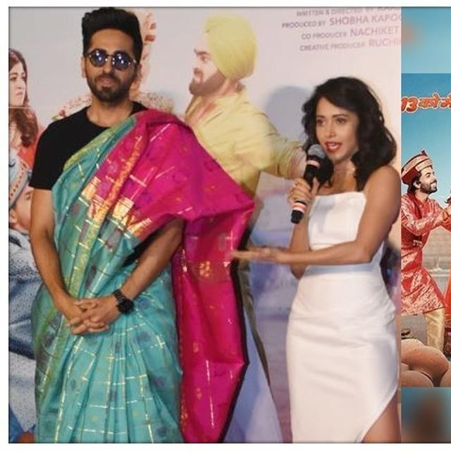 'DREAM GIRL' AYUSHMANN KHURRANA TAKES REEL-LIFE AVATAR TO REAL LIFE, WEARS A SAREE AT THE TRAILER LAUNCH
