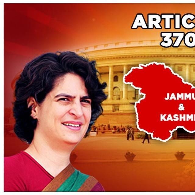 J&K: PRIYANKA GANDHI VADRA HITS OUT AT ARTICLE 370'S ABROGATION, DENIES DIFFERING CONGRESS VIEWS ON THE MATTER