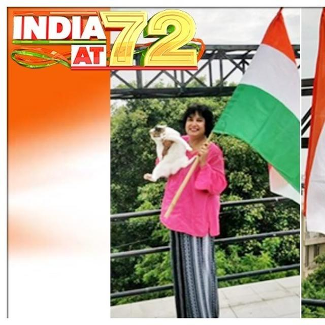INDEPENDENCE DAY: TASLIMA NASREEN CELEBRATES WITH INDIAN TRICOLOUR , HER CAT JOINS IN